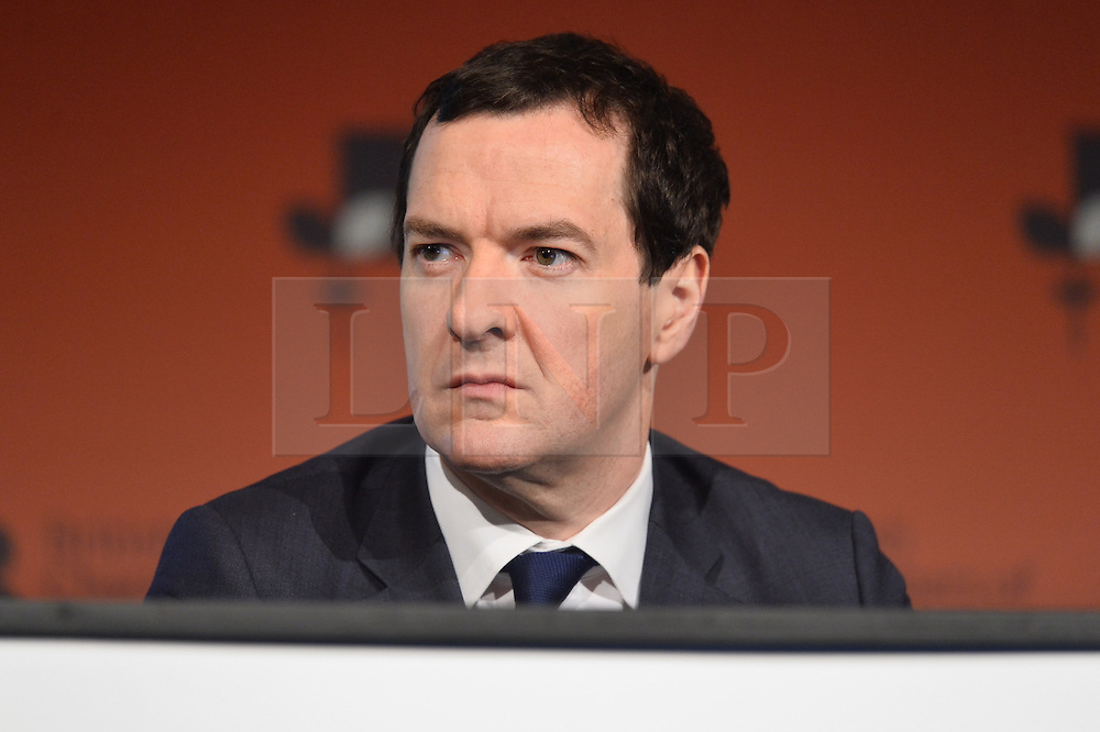 © Licensed to London News Pictures. 28/02/2017. Former Chancellor of the Exchequer GEORGE OSBORNE speaks at the British Chambers of Commerce Annual Conference 2017 on growing business in the regions and nations. London, UK. Photo credit: Ray Tang/LNP