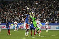 October 10, 2017 - Paris, France - Raphael Varane of France challenges goalkeeper Syarhey Chernik of Belarus  during the Fifa 2018 World Cup qualifying match between France and Belarus on October 10, 2017 in Paris, France. (Credit Image: © Elyxandro Cegarra/NurPhoto via ZUMA Press)