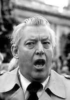 Loyalist politician and Protestant religious leader from Northern Ireland Ian Paisley. Photographed on the Day of Action rally in Belfast, Northern Ireland in November 1981.