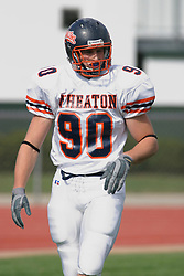 22 October 2005: Thunder DE Andy Studebaker. The Illinois Wesleyan Titans posted a 23 - 14 home win by squeeking past the Thunder of Wheaton College at Wilder Field (the 5th oldest collegiate field in the US) on the campus of Illinois Wesleyan University in Bloomington IL