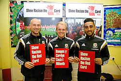 NEWPORT, WALES - Tuesday, October 7, 2014: Wales' David Cotterill, Jonathan Williams and Neil Taylor visit Mount Stuart School for a Show Racism the Red Card promotion ahead of the UEFA Euro 2016 qualifying match against Bosnia and Herzegovina. (Pic by David Rawcliffe/Propaganda)