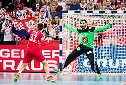 Ivan Cupic of Croatia vs Cyril Dumoulin of France during handball match between National teams of Croatia and France on Day 7 in Main Round of Men's EHF EURO 2018, on January 24, 2018 in Arena Zagreb, Zagreb, Croatia.  Photo by Vid Ponikvar / Sportida