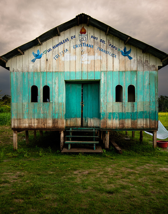 LORETO, PERU - CIRCA OCTOBER 2015:  Abandoned church around the Yarapa river. Village of Puerto Miguel in the Peruvian Amazon.