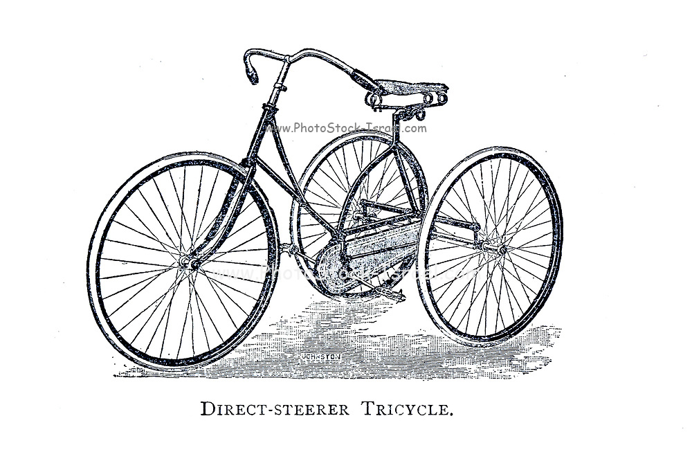 Direct Steerer Tricycle From Wheels and Wheeling; An indispensable handbook for cyclists, with over two hundred illustrations by Porter, Luther Henry. Published in Boston in  1892