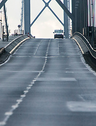 Pics of the closed Forth Road Bridge from the north, Fife side at North Queensferry. Pic of the closed north bound road side.