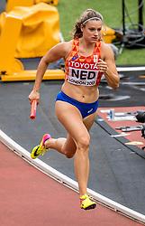 12-08-2017 IAAF World Championships Athletics day 9, London<br /> Nederland had minder succes op de 4x400 meter. Nederland werd laatste in de heat door een foute wissel waarbij het stokje op de grond viel. Dat kon in het restant van de race niet meer goedgemaakt worden. Laura de Witte NED