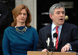 © under license to London News Pictures. LONDON. 05/05/2011. One year on since the last General Election. FILE PICTURE DATED. 11/05/10. Gordon Brown and his wife Sarah inform the assembled media that he is to go to Buckingham Palace to offer Queen Elizabeth II his resignation as Prime Minister of Britatin. British Prime Minister Gordon Brown has resigned his position and David Cameron has become the new British Prime Minister on May 11, 2010. The Conservative and Liberal Democrats are to form a coalition government after five days of negotiation. Photo credit should read Stephen Simpson/LNP