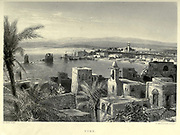 Engraving on Steel of Tyre, Lebanon from the book 'Picturesque Palestine, Sinai and Egypt' by Wilson, Charles William, Sir, 1836-1905; Lane-Poole, Stanley, 1854-1931 Volume 3. Published in by J. S. Virtue and Co 1883