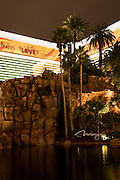 The Mirage Hotel and Casino along the Strip at night, Las Vegas, Nevada.