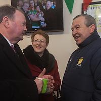 An tUachtaran Cumann Luthchleas Gael, Mr. Liam O'Neill, with his wife Áine, enjoys a cup of tea with the Chairman of the Clare GAA County Board Michael McDonagh during their visit to the Kilmurry Ibrickane GAA Club Centenary Closing Ceremony