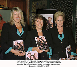 Left to right,  EVE POLLARD (Lady Lloyd) former editor of the Sunday Express, MRS VAL CORBETT, and MRS JOYCE HOPKIRK all three are journalists and writers, at a party in London on September 25th 1996.<br /> LSI 7