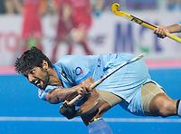 BHUBANESWAR  (INDIA) -  Quater Finals Belgium vs India of the Hero Champions Trophy Hockey.   Rupinder Singh of India scores .Photo KOEN SUYK
