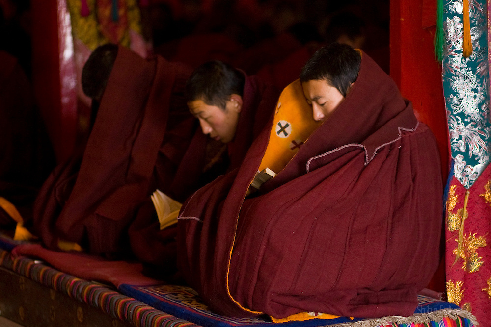 Tibet New Year - China - Edward Wong<br /> Monks read prayer books at Rongwo monastery  (Longwu in Chinese) on Tibetan New Year's Day in Rebkong (Tongren in Chinese), Qinghai province in China, February 25, 2009. Photo by Shiho Fukada for The New York Times
