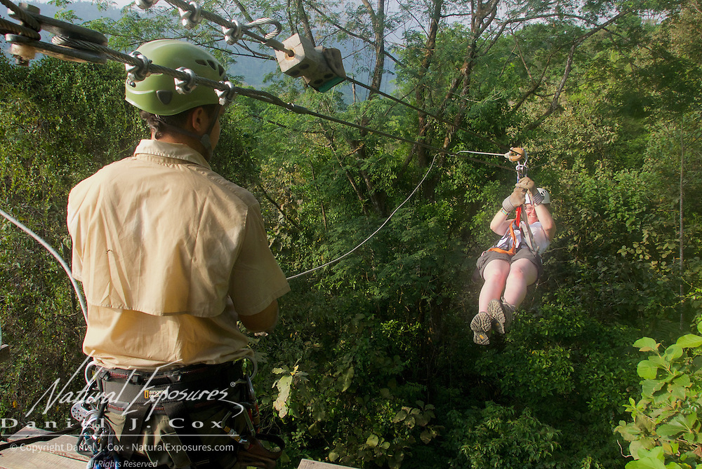 Christine Crosby makes her way in on the zip line. Costa Rica