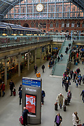 Passengers pass through the main concourse at St. Pancras Station, on 10th April 2018, in London, England.