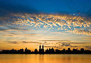 View of Central Park West with the El Dorado building, Upper West Side of Manhattan from the Jacqueline Kennedy Onassis Reservoir in Central Park, New York City.