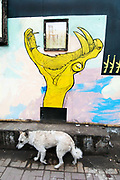 Egypt, Cairo 2014. Qasr el-Nil street grafitti of a painting of a chair, and a talon, and a dog in front.