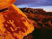 Ancestral Puebloan petroglyphs near an Archeoastronomical site, Petrified Forest National Park, Arizona.  COL