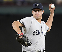 September 8, 2017 - Arlington, TX, USA - New York Yankees relief pitcher Caleb Smith works during the seventh inning against the Texas Rangers at Globe Life Park in Arlington, Texas, on Friday, Sept. 8, 2017. The Rangers won, 11-5. (Credit Image: © Max Faulkner/TNS via ZUMA Wire)
