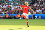 Aaron Ramsey of Wales in action.UEFA Euro 2016, last 16 , Wales v Northern Ireland at the Parc des Princes in Paris, France on Saturday 25th June 2016, pic by  Andrew Orchard, Andrew Orchard sports photography.