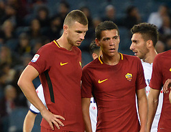 October 25, 2017 - Italy - Edin Dzeko and Hector Moreno during the Italian Serie A football match between A.S. Roma and F.C. Crotone at the Olympic Stadium in Rome, on october 25, 2017. (Credit Image: © Silvia Lor/Pacific Press via ZUMA Wire)