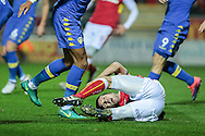 Richard Wood (Rotherham United) is pulled down in the penalty box, but Stuart Attwell (referee) waves the claims away during the EFL Sky Bet Championship match between Rotherham United and Leeds United at the New York Stadium, Rotherham, England on 26 November 2016. Photo by Mark P Doherty.