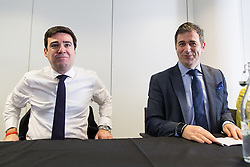 © Licensed to London News Pictures . 05/02/2016 . Manchester , UK . ANDY BURNHAM MP and JUERGEN MAIER , CEO of Siemens . Labour in for Britain pro-EU campaign event at the Siemens technology campus in South Manchester . Photo credit : Joel Goodman/LNP