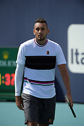 March 26, 2019 - Miami Gardens, Florida, United States Of America - MIAMI GARDENS, FLORIDA - MARCH 26: Borna Coric of Croatia defeats Nick Kyrgios of Australia during day 9 of the Miami Open presented by Itau at Hard Rock Stadium on March 26, 2019 in Miami Gardens, Florida...People: Nick Kyrgios. (Credit Image: © SMG via ZUMA Wire)