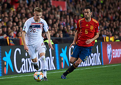 March 23, 2019 - Valencia, U.S. - VALENCIA, SPAIN - MARCH 23: Martin Odegaard, midfielder of Norway competes for the ball with Sergio Busquets, midfielder of Spain during the 2020 UEFA European Championships group F qualifying match between Spain and Norway at Mestalla stadium on March 23, 2019 in Valencia, Spain. (Photo by Carlos Sanchez Martinez/Icon Sportswire) (Credit Image: © Carlos Sanchez Martinez/Icon SMI via ZUMA Press)