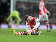 Arsenal's Jack Wilshere goes off injured<br /> <br /> Barclays Premier League- Arsenal vs Manchester United - Emirates Stadium - England - 22nd November 2014 - Picture David Klein/Sportimage