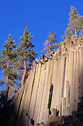 Afternoon light on columnar basalt cliff at Devil's Postpile, Devil's Postpile National Monument, California