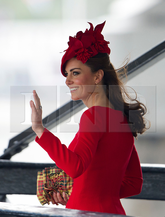 © Licensed to London News Pictures. 03/06/2012. London, UK. Kate Middleton arriving Cadogan Pier to board the Royal Barge Gloriana during the Jubilee Pageant on the River Thames, London on June 03,2012 as part of The Diamond Jubilee celebrations. Great Britain is celebrating the 60th  anniversary of the countries Monarch HRH Queen Elizabeth II accession to the throne . Photo credit : Ben Cawthra/LNP
