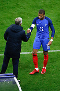 Didier Deschamps (FRA) greated Kylian Mbappe (FRA) during the 2017 Friendly Game football match between France and Wales on November 10, 2017 at Stade de France in Saint-Denis, France - Photo Stephane Allaman / ProSportsImages / DPPI