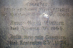 © Licensed to London News Pictures. 21/10/2015. Halifax, UK. Picture shows the Headstone of James Uriah Walker who was the owner of the Halifax Guardian & the first person ever to publish the work of the Bronte sisters at the Victorian Grade 2 listed Lister Lane Cemetery in Halifax that dates back to 1841 & has been recognised as a Significant Cemetery in Europe, one of only 13 in the UK putting it alongside such famous cemeteries as Highgate in London. The cemetery houses burial plots of James Uriah Walker who was the owner of the Halifax Guardian & the first person to publish the Bronte sister's work, The Crossley family who's mill became the largest carpet manufacturing business in the world & numerous veterans of the battle of Waterloo. Photo credit: Andrew McCaren/LNP