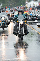 A rainy day on Lakeside Avenue in Weirs Beach during Laconia Motorcycle Week, New Hampshire, USA. Friday June 16, 2017. Photography ©2017 Michael Lichter.