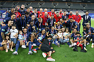 Players of PSG celebrate winning the French Cup 2020 following the French Cup final football match between Paris Saint-Germain (PSG) and Saint-Etienne (ASSE) on Friday 24, 2020 at the Stade de France in Saint-Denis, near Paris, France - Photo Juan Soliz / ProSportsImages / DPPI
