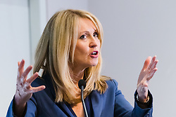 "© Licensed to London News Pictures. 10/06/2019. London, UK.  Tory leadership candidate, Esther McVey makes a pro Brexit speech about ""Taking Back Control of Britain's EU Exit"" at a Bruges Group event held in Westminster. Many of the Tory leadership candidates are holding launch events in the capital today. Photo credit: Vickie Flores/LNP"