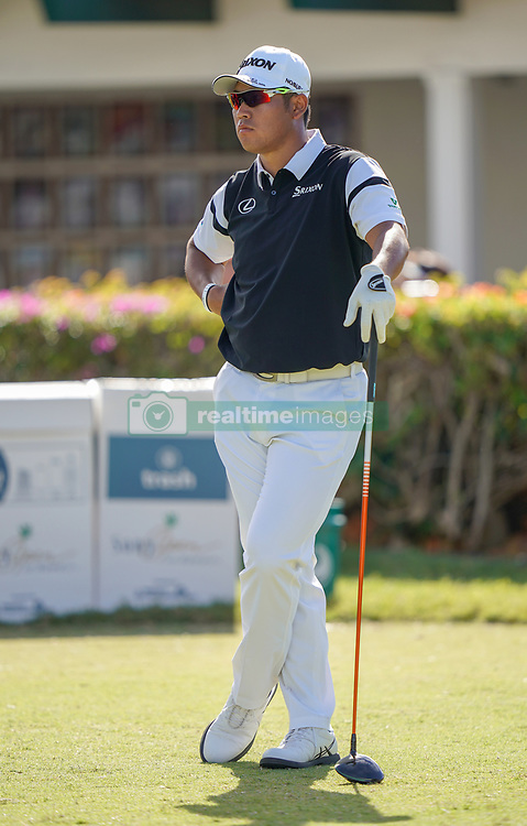 January 10, 2019 - Honolulu, HI, U.S. - HONOLULU, HI - JANUARY 10: Hideki Matsuyama of Japan relaxes before he tee off on the 10th hole during the first round of the Sony Open on January 10, 2019, at the Waialae Counrty Club in Honolulu, HI. (Photo by Darryl Oumi/Icon Sportswire) (Credit Image: © Darryl Oumi/Icon SMI via ZUMA Press)