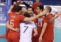 07-06-2014 NED: WLV Nederland - Portugal, Almere<br /> Een moeizame overwinning op Portugal levert Nederland twee punten op / Vreugde boij Portugal met Valdir Sequeira