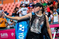 PORTOROZ, SLOVENIA - SEPTEMBER 18: Kaja Juvan of Slovenia during the Semifinals of WTA 250 Zavarovalnica Sava Portoroz at SRC Marina, on September 18, 2021 in Portoroz / Portorose, Slovenia. Photo by Matic Klansek Velej / Sportida