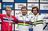 Sykkel VM / UCI 2017 Road worlds championships<br /> Men Elite Road Race<br /> 24.09.2017<br /> Bergen , Norway<br /> Alexander Kristoff (L) , NOR<br /> Peter Sagan (M) , SVK <br /> Michael Matthews (R) , AUS<br /> Foto: Astrid M. Nordhaug