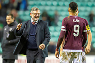 Craig Levein, manager of Heart of Midlothian celebrates at the final whistle of the Ladbrokes Scottish Premiership match between Hibernian FC and Heart of Midlothian FC at Easter Road Stadium, Edinburgh, Scotland on 29 December 2018.