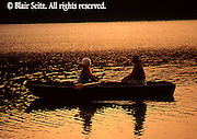 Outdoor recreation, Seniors Enjoy Boating on Lake at Sunset, York Co., PA