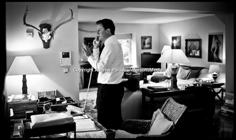 The Prime Minister talks to the President of the France Nicolas Sarkozy about the crisis in Libya , at his home in Oxfordshire. Photo By Andrew Parsons