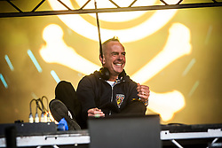 """Fatboy Slim plays the main stage on Friday night, Rockness 2013, the annual music festival which took place in Scotland at Clune Farm, Dores, on the banks of Loch Ness, near Inverness in the Scottish Highlands. The festival is known as """"the most beautiful festival in the world""""."""