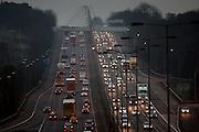 Northbound and southbound traffic on M1 Motorway near Hertfordshire, United Kingdom.