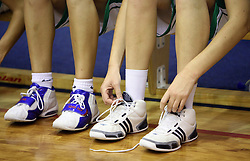 Shoes at basketball qualification match of women division B  between National teams of Slovenia and Netherlands, on August 27, 2008, in Vitranc Hall, Kranjska Gora. Win of NED 83:81. (Photo by Vid Ponikvar / Sportida)
