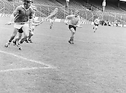 Antrim is in possession of the ball as he goes to hit it out from his own goalmouth during the All-Ireland Senior B Hurling Championship Antrim v London at Croke Park on the 25th of June 1978. Antrim 1-16 London 3-7.