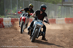 Revival Cycles' Andy James Dio riding a BMW R noneT in the Saturday Run-What-You-Brung flat track racing at the Handbuilt Motorcycle Show. Austin, TX, USA. April 9, 2016.  Photography ©2016 Michael Lichter.