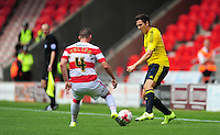 Middlesbrough's Stewart Downing vies for possession with Doncaster Rovers' Luke McCullough<br /> <br /> Photographer Chris Vaughan/CameraSport<br /> <br /> Football - Pre-Season Friendly - Doncaster Rovers v Middlesbrough - Saturday 25th July 2015 - Keepmoat Stadium, Doncaster<br /> <br /> © CameraSport - 43 Linden Ave. Countesthorpe. Leicester. England. LE8 5PG - Tel: +44 (0) 116 277 4147 - admin@camerasport.com - www.camerasport.com